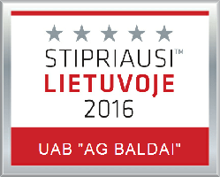 Stipriausi Lietuvoje 2016 (Best in Lithuania) - certificate for AG Baldai